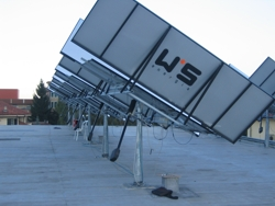 One axis trackers with V-mirrors, courtesy ISCAT