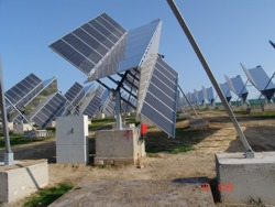 Polar axis concentrator trackers, courtesy Traxle Solar